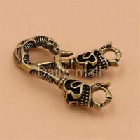 Vintage brass Skull Fob clip wallet key chain key ring belt U hook Punk