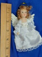 Vintage All Porclain Bisque Angel Mini Doll Xmas Tree Ornament Satin Dress