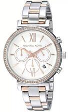NWT Michael Kors Sofie Two-Tone Crystal Silver Dial Ladies Watch 39mm MK6558