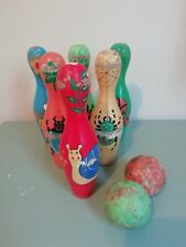 Vintage Wooden Colourful Insect Themed Skittles Toy Kids Game