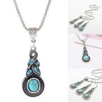 Fashion Bohemia Tibetan Silver Turquoise Necklace Waterdrop Earring Jewelry Set