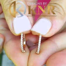 WOMEN'S 14K ROSE GOLD ROUND CUT DIAMONDS HOOP EARRINGS BRIDAL WEDDING 0.20CTW