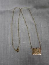"14kt LUNA YELLOW GOLD CHAIN NECKLACE w DIAMOND BOOK CHARM ""WITH LOVE CLASS '81"""