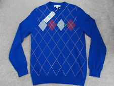 Lyle & Scott Club 2015 Golf Argyle Crew Neck Pullover Duke Blue Medium *New*