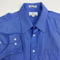 Enro Button Up Shirt Mens 18 34-35 Blue Pebble Cloth Long Sleeve Casual