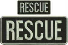 RESCUE embroidery Patches 4x10 and 2x5 hook ON BACK silver letters and border