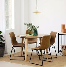 Round Oak 5 Piece Dining Set - Round Dining Table + 4 Upholstered Chairs