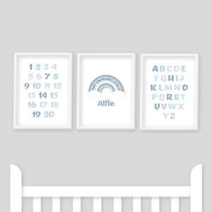 Nursery Prints - Alphabet, Numbers, Rainbow, Blue, Baby Boy, Kids Room, Playroom