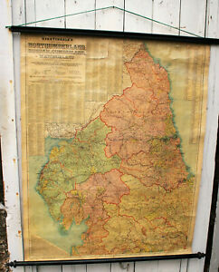 "Original Antique Edwardian Nightingales Map of Northern England, Large 39.5""x36"""