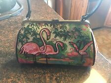 WOW Authentic Vintage ISABELLA FIORE Sequin Pink Flamingos Summer Beaded Handbag