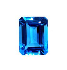 16x12mm Natural Super Fine Neon Swiss Blue Topaz Emerald Cut - Sri Lanka - AAAA