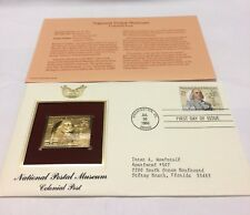 National Postal Museum Colonial Post Stamp, July 30 1993 FDC and 22kt gold