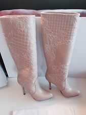 NEW VERSACE LIGHT PINK LEATHER EMBROIDERED KNEE HIGH BOOTIES BOOTS SIZE 39 9