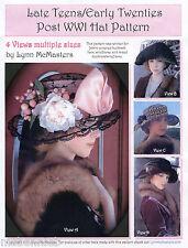 Ladies Late Teens/Early 20s Post WWI Hat 4 Views - Lynn McMasters Sewing Pattern