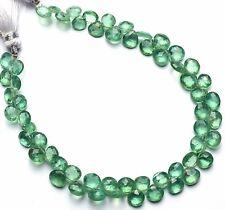 "Very Rare Gem Natural Nepal Green Kyanite Faceted Heart Shape Briolette Beads 8"""
