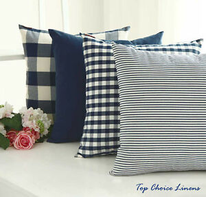Classic Home Decorative French Provincial Check/Stripes Cushion Cover-NavyBlue