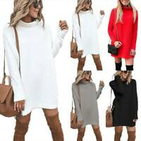 Women Knit Sweater Mini Dress Pullover Casual Solid Loose Jumper Long Sleeve Top