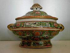 POT COUVERT ANCIEN EN PORCELAINE DE CHINE.Canton.XIX°.Vase,bouillon,terrine.