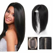 Remeehi Real Human Hair Topper Straight Hairpiece Clip in Top Crown Replacement