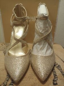 Michael Michael Kors Women Catia Glitter Silver/Sand Pumps Size 8 (NIB)
