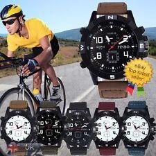 Luxury Mens Watch Canvas strap Large Big Military Sport Analog Quartz Wrist Wath