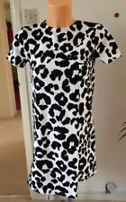 ASOS Petite Shift Dress In Animal Print Black / White UK 4 EU 32 (G69/2)