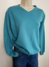EWM 100% PURE CASHMERE JUMPER SWEATER M UK 12-14 TURQUOISE BLUE  #04/19