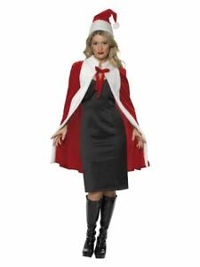 Womens Red Santa Cape & Hat Christmas Fancy Dress Party Outfit Xmas Festive