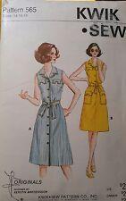 UNCUT Vintage Kwik Sew 565 Sleeveless Semi-Fitted A-Line Shirtdress, sz 14 16 18