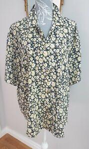 Vintage 90s Oversized Floral Blouse Shirt Top Gold Sailor Buttons retro Size 16