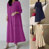 ZANZEA Womens Casual Long Sleeve V Neck Dress Kaftan Maxi Pockets Ladies Plus