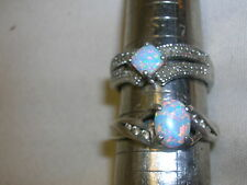 2 Ladies Rings Sterling 925 Marked RJ 8 NVC 8 Opal Stone