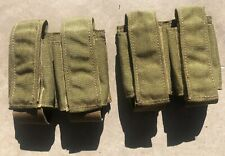 Lot 2 Military MOLLE 40MM DOUBLE GRENADE Mag POUCH Khaki 9mm Eagle Industries