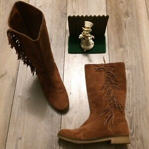 Lucky Brand  LK -Grayer Fringe Boots Size 7 / 37 Brown minimal Wear