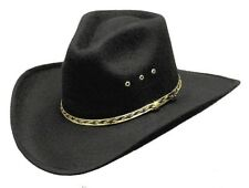 Cowboy Cowgirl Black or Brown Front Pinched Hat Felt - 2 Sizes