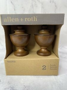 Allen and Roth Wood Finials Screw on Curtain Rod Round Finials 0622935
