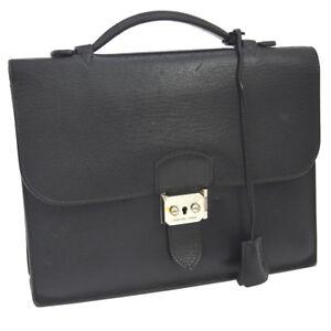 Auth HERMES Sac A Depeche 27 Briefcase Hand Bag Black Veau Epsom JT06624b