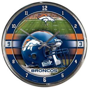 NFL - Denver Broncos - New Chrome Round Wall Clock  12 Inches Diameter