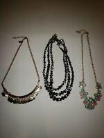 Lot of 3 Statement Bib Chunky Necklaces Costume Fashion Jewelry