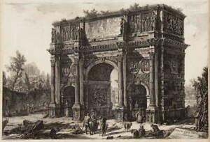 Giovanni Battista Piranesi View Of The Arch Of Constantine Giclee Canvas Print