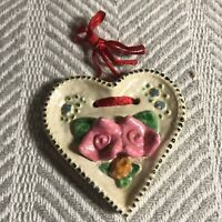 Ceramic Hand Painted Folk Art Ornament Pink Roses 3in
