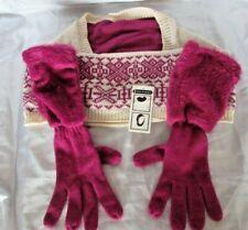 Infinity Scarf Winter Nordic Purple/Cream & Long Gloves Set Womens (W4)