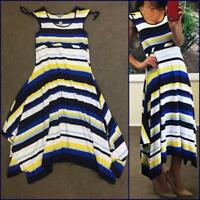 NWT $70 SUZANNE GRAE nautical stripe MAXI DRESS 12 blue white resort stretch NEW