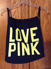 Victoria's Secret PINK Canvas Drawstring Backpack dark blue neon green Bag New