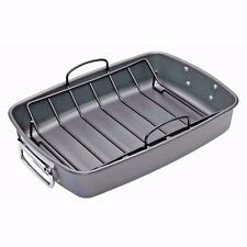 MASTERCLASS Heavy Duty Carbon Steel Non-Stick 40 x 28cm Roasting Pan With Rack