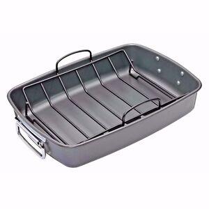 MASTERCLASS Heavy Duty Carbon Steel Non-Stick 40 x 28cm Roasting Pan With Rack.