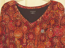 WOMENS CATHERINES TOP SHIRT 3X NWT ORANGE BROWN MULTICOLOR 3/4 SLV 26 28