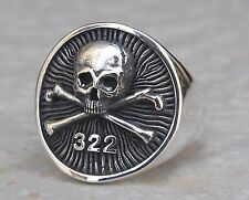 Solid Sterling Silver 925 Heavy 3D Yale Secret Society Skull And Bones Ring