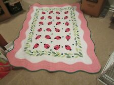 """Quilt , Bedding , 80""""X60"""" . Red/Green/White , Vintage ,Strawberry/Beetle Bug"""