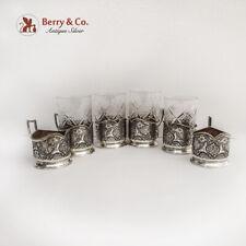Persian Tea Glass Holders Podstakannik Set of 6 84 Standard Silver